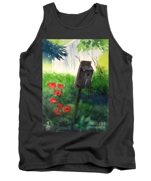 Tank Top featuring the painting A Bird House In The Geddes Farm --ann Arbor Michigan by Yoshiko Mishina