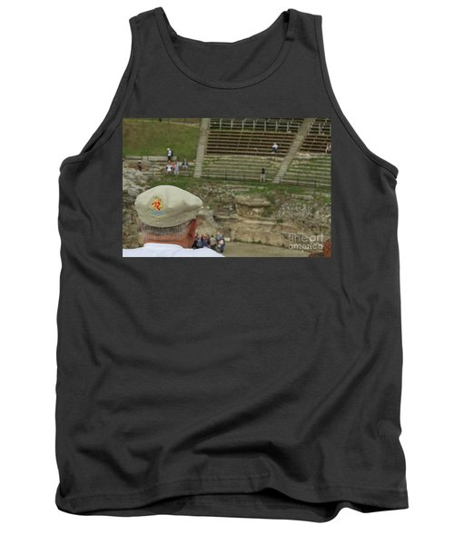 A Tourist And The Ancient Theater Of Taormina Tank Top