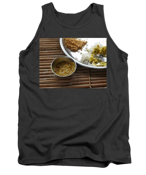 Tank Top featuring the photograph A Typical Plate Of Indian Rajasthani Food On A Bamboo Table by Ashish Agarwal