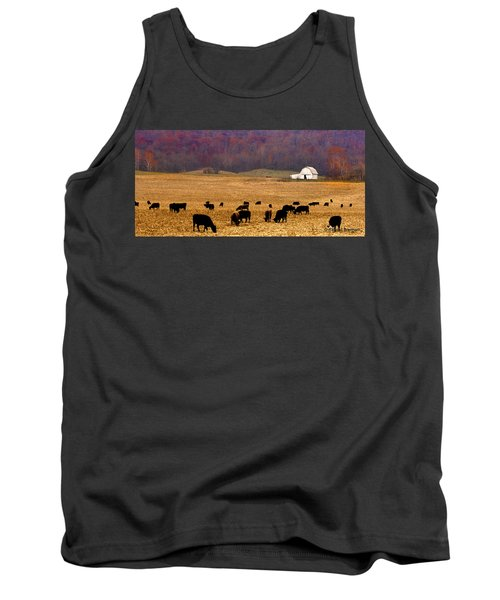 Tank Top featuring the photograph Angus And Oaks  Farm by Randall Branham