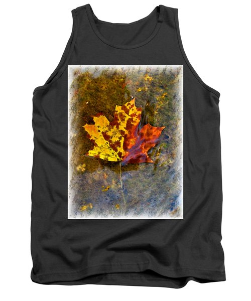 Tank Top featuring the digital art Autumn Maple Leaf In Water by Debbie Portwood