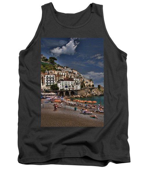 Beach Scene In Amalfi On The Amalfi Coast In Italy Tank Top