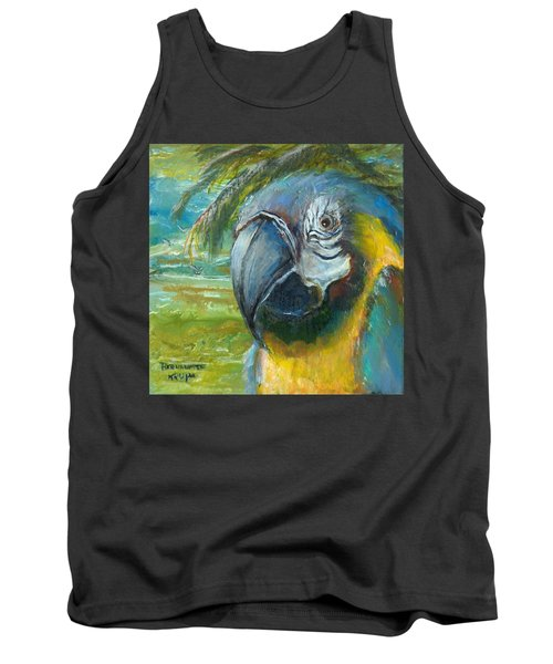 Blue And Gold Macaw By The Sea Tank Top by Bernadette Krupa
