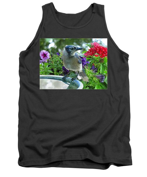 Tank Top featuring the photograph Blue Jay At Water by Debbie Portwood