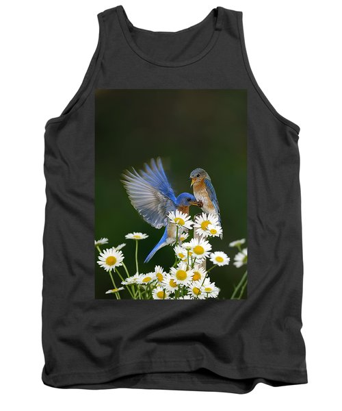 Tank Top featuring the photograph Bluebirds Picnicking In The Daisies by Randall Branham