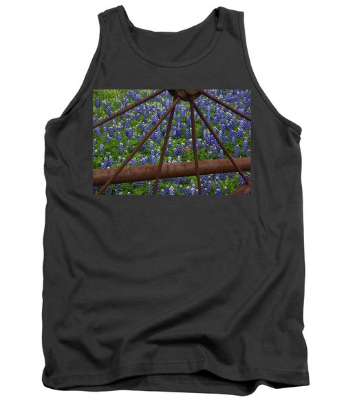 Bluebonnets And Rusted Iron Wheel Tank Top