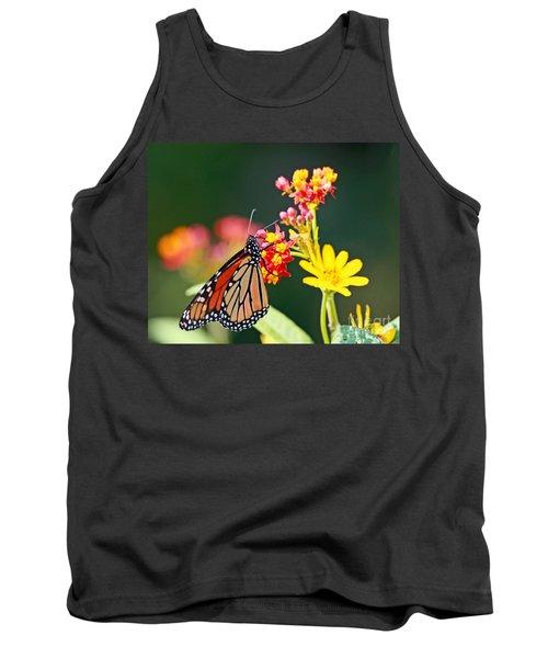 Butterfly Monarch On Lantana Flower Tank Top by Luana K Perez