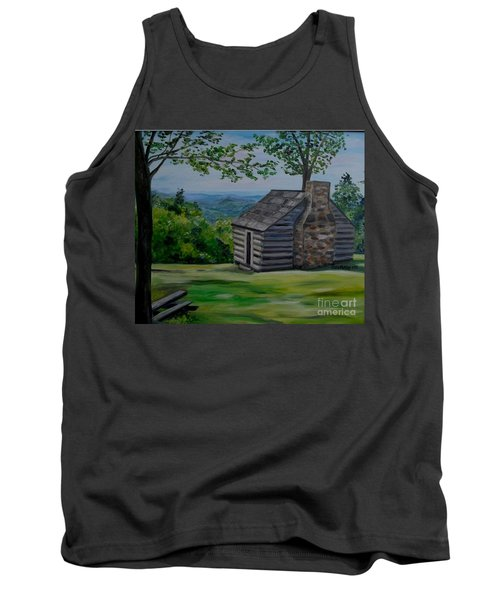 Tank Top featuring the painting Cabin On The Blue Ridge Parkway In Va by Julie Brugh Riffey
