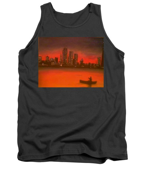 Tank Top featuring the painting Canoe By The City by Christy Saunders Church