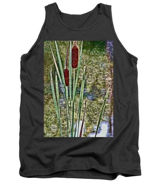 Tank Top featuring the photograph Cattails Along The Pond by Don Schwartz