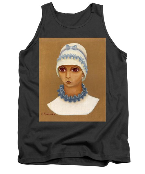 Colorful Young Woman Brown Eyes Blue White Hat Collar  With Ribbon Small Lips Tank Top by Rachel Hershkovitz