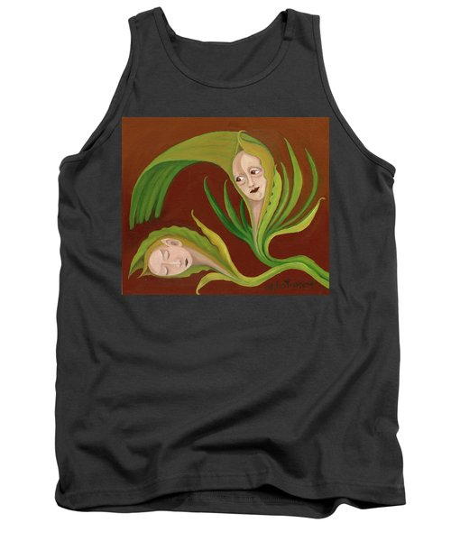Corn Love Fantastic Realism Faces In Green Corn Leaves Sleeping Or Dead Loving Or Mourning Gree Tank Top by Rachel Hershkovitz