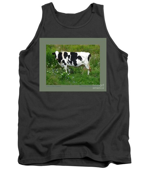 Cow In The Flowers Tank Top by Patricia Overmoyer