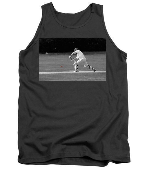 Cricketer In Black And White With Red Ball Tank Top
