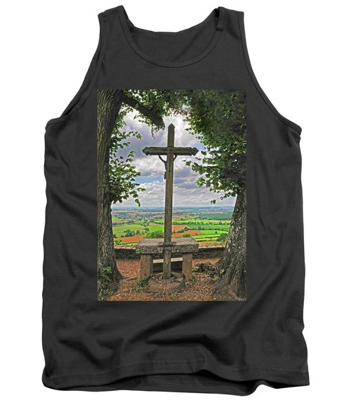 Tank Top featuring the photograph Crucifix Overlooking The French Countryside by Dave Mills