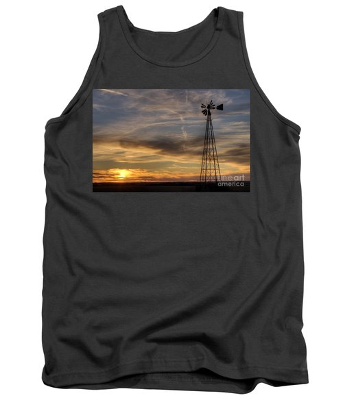 Tank Top featuring the photograph Dark Sunset With Windmill by Art Whitton