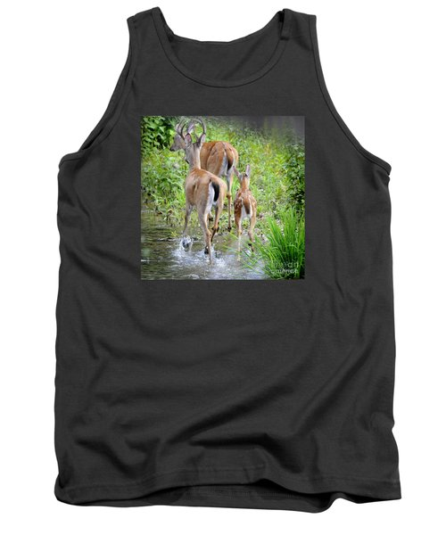 Tank Top featuring the photograph Deer Running In Stream by Nava Thompson