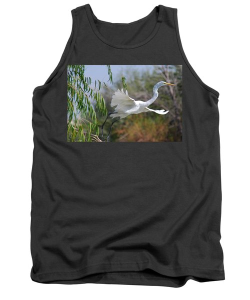 Tank Top featuring the photograph Egret's Flight by Tam Ryan