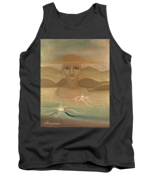 Face From Nature Desert Landscape Abstract Fantasy With Flowers Blue Eyes Yellow Cloud  In Sky  Tank Top by Rachel Hershkovitz