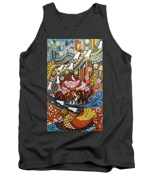 Footsteps To Peace Colorful Abstract Symbolism With Urban Cityscape Path Tracks Bird Dove Tank Top