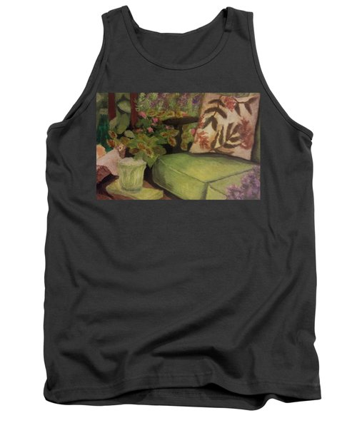 Tank Top featuring the painting Green Patio by Christy Saunders Church