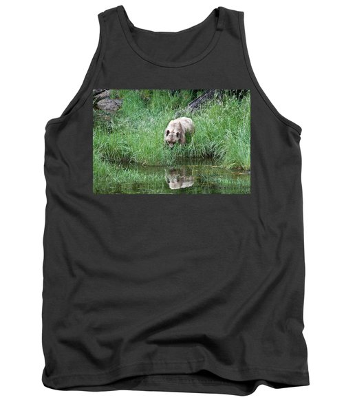 Grizzly Bear And Reflection On Prince Rupert Island Canada 2209 Tank Top by Michael Bessler