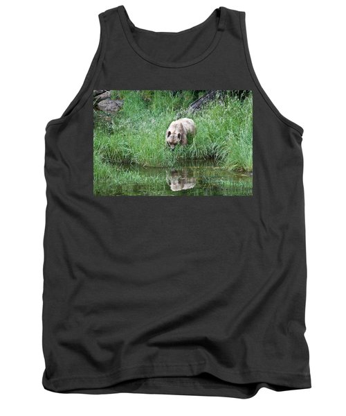 Grizzly Bear And Reflection On Prince Rupert Island Canada 2209 Tank Top
