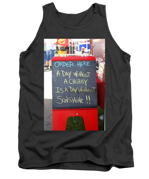 Tank Top featuring the photograph Hot Dog Stand Humor by Kay Novy