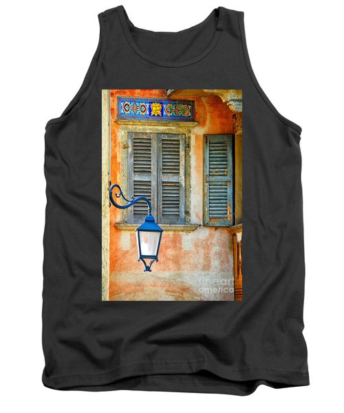 Italian Street Lamp With Window And Decorated Wall Tank Top