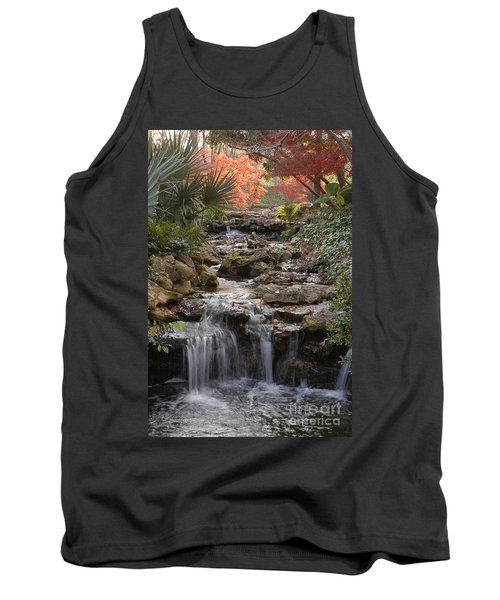 Waterfall In The Japanese Gardens, Ft. Worth, Texas Tank Top