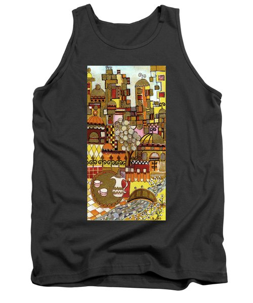 Jerusalem Alleys Tall 5  In Red Yellow Brown Orange Green And White Abstract Skyline Landscape   Tank Top by Rachel Hershkovitz