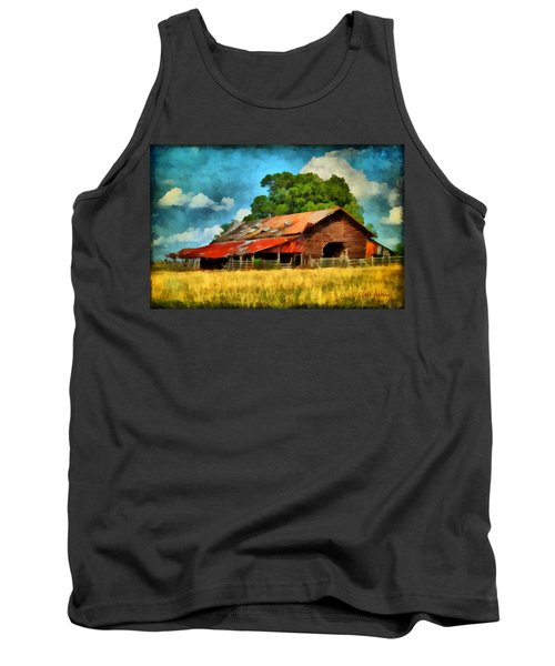 Tank Top featuring the painting Long Road Barn by Lynne Jenkins