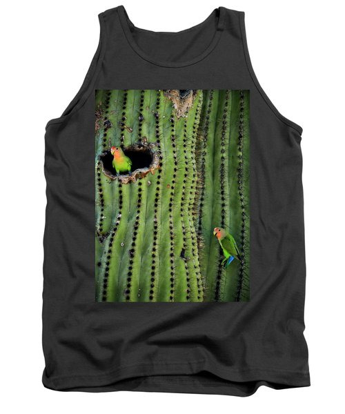 Lovebirds And The Saguaro  Tank Top by Saija  Lehtonen