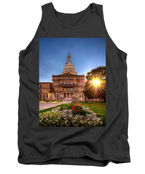 Tank Top featuring the photograph Michigan Capitol - Hdr - 2 by Larry Carr