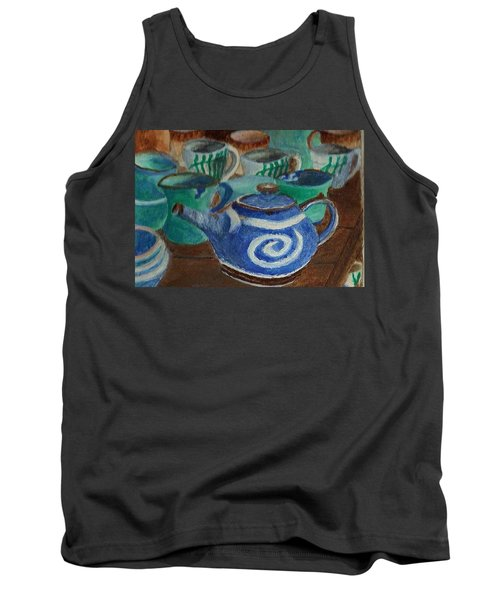Tank Top featuring the painting Miniature Teapots And Cups by Christy Saunders Church