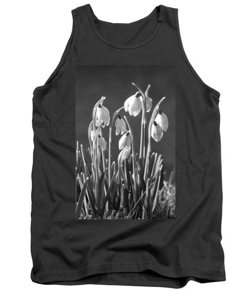 Tank Top featuring the photograph Mono Snowdrops by Lynn Bolt