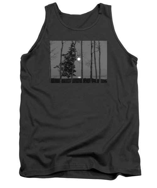 Moon Birches Black And White Tank Top by Francine Frank