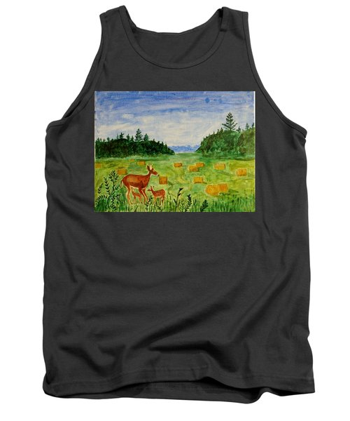 Tank Top featuring the painting Mother Deer And Kids by Sonali Gangane