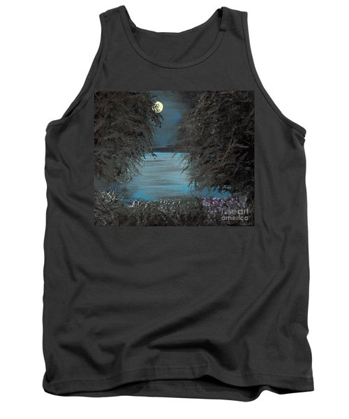 Tank Top featuring the painting Night In The Bayou by Alys Caviness-Gober