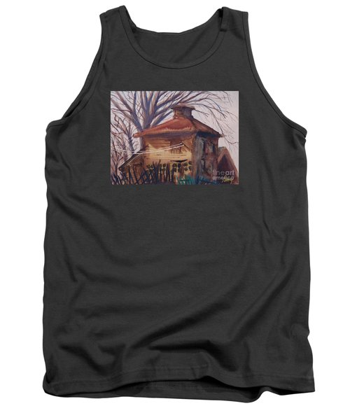 Tank Top featuring the painting Old Garage by Rod Ismay