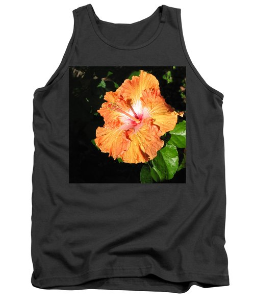 Orange Hibiscus After The Rain 1 Tank Top by Connie Fox