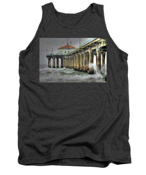 Overcast Manhattan Beach Pier Tank Top