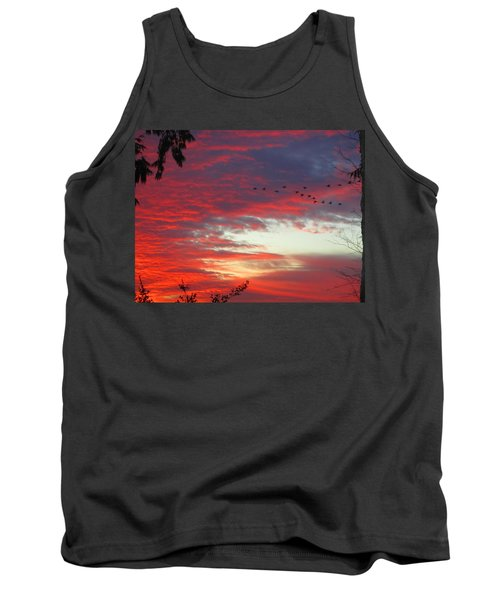Tank Top featuring the photograph Papaya Colored Sunset With Geese by Kym Backland
