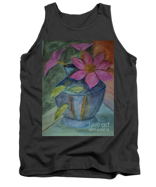 Tank Top featuring the drawing Pink Flowers In Blue Vase by Christy Saunders Church