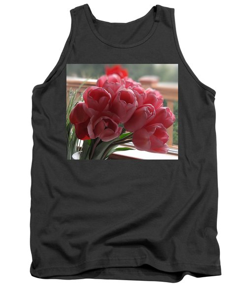 Tank Top featuring the photograph Pink Tulips In Vase by Katie Wing Vigil