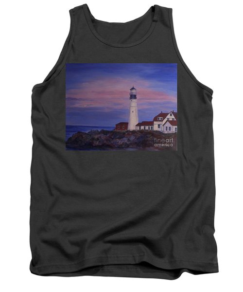 Tank Top featuring the painting Portland Head Lighthouse At Dawn by Julie Brugh Riffey