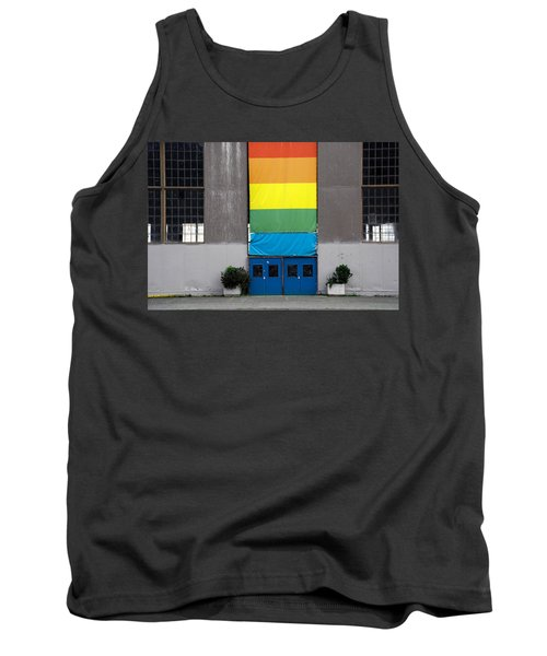 Tank Top featuring the photograph Rainbow Banner Building by Kathleen Grace