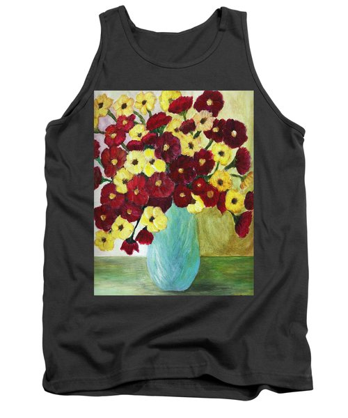 Tank Top featuring the painting Red And Yellow Bouquet In Blue by Christy Saunders Church