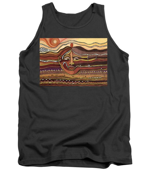 Red Aztec Face In Nature Landscape Abstract Fantasy With Earth Colors Sunset And Skyline Tank Top