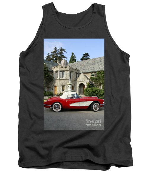 Red Corvette Outside The Playboy Mansion Tank Top